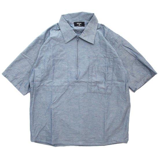 remilla レミーラ|プルデクト五分シャツ (ブルー杢)(半袖シャツ)