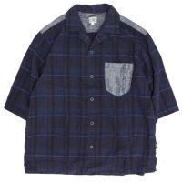GO HEMP ゴーヘンプ|SHITAMACHI SHIRTS WIDE CHECK (ネイビー)(五分袖シャツ)