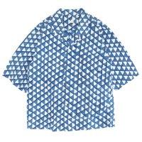 HiHiHi ひひひ|五分袖 カイキンシャツ (インディゴウロコ)(開襟シャツ)