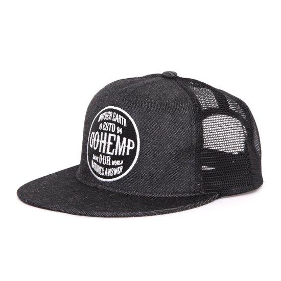 GO HEMP ゴーヘンプ|LOGO MESH CAP (ブラック)(メッシュキャップ)