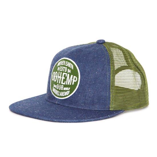 GO HEMP ゴーヘンプ LOGO MESH CAP (ブルー)(メッシュキャップ)