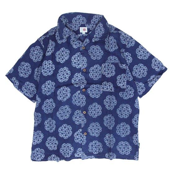 GO HEMP ゴーヘンプ|GREEN POINT OPEN SHIRTS (インディゴ)(オープンカラーシャツ)