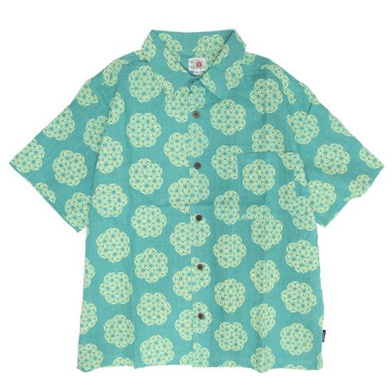GO HEMP ゴーヘンプ|GREEN POINT OPEN SHIRTS (ワサビ)(オープンカラーシャツ)
