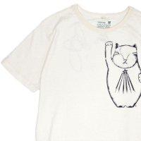 GO HEMP ゴーヘンプ|招き猫 S/SL TEE by BeBe (ナチュラル)(プリント Tシャツ)