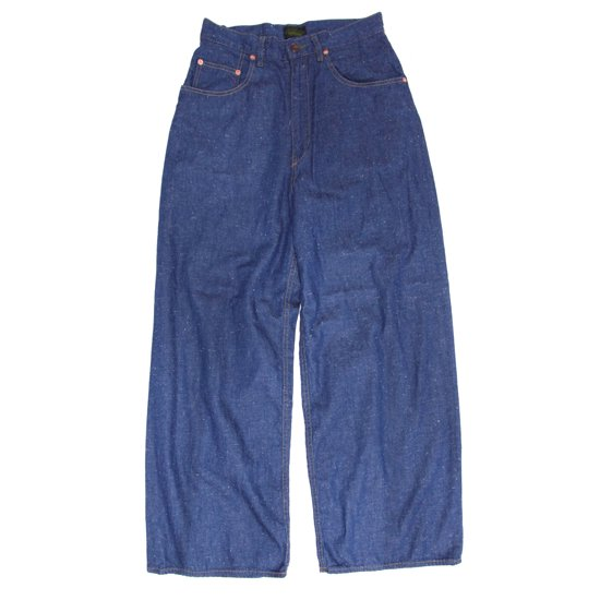 GO HEMP ゴーヘンプ|レディース H/C SLUB NEP WIDE DENIM PANTS (ブルー)(ワイドパンツ)