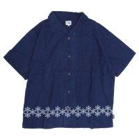 GO HEMP ゴーヘンプ|麻柄刺繍 YURURI SHIRTS (インディゴ)(オープンカラーシャツ)
