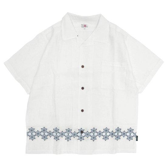 GO HEMP ゴーヘンプ|麻柄刺繍 YURURI SHIRTS (ナチュラル)(オープンカラーシャツ)