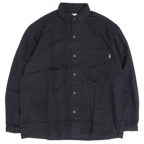 GO HEMP ゴーヘンプ H/C TWILL 起毛 SHITAMACHI L/SL SHIRTS (ブラック)(長袖シャツ)