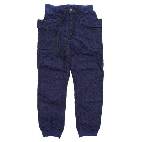 GO HEMP ゴーヘンプ|麻柄 JACQUARD VENDOR RIB PANTS (インディゴ)(ベンダーリブパンツ)