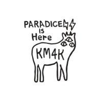 KM4K カモシカ|STICKER ステッカー (ブラック)(屋外対応素材)