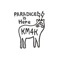 KM4K カモシカ|おっきな STICKER ステッカー 大 Large 黒 (ブラック)(屋外対応素材)
