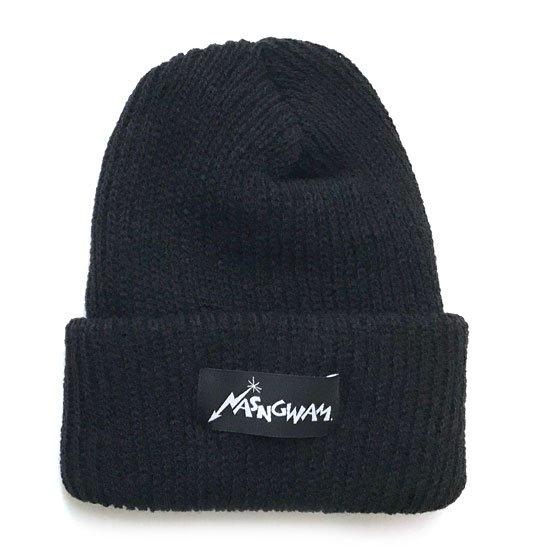 Nasngwam ナスングワム|80's LOGO KNIT CAP (ブラック)(ニット帽 ワッチキャップ)