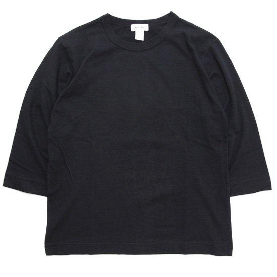 BETTER ベター|MID WEIGHT CREW NECK 3/4 TEE (ブラック)(無地 七分袖TEE)