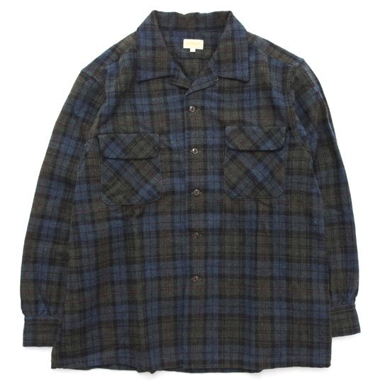 GO WEST ゴーウエスト|WOOL CHECK OUT OF BORDER SHIRTS (オリーブ)(長袖 開襟シャツ)