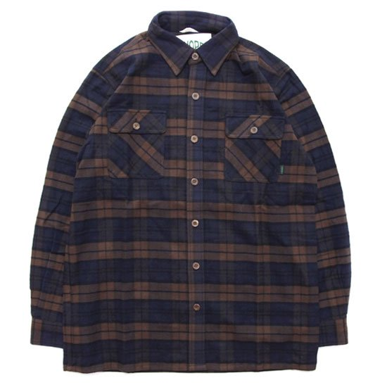 A HOPE HEMP アホープヘンプ|Hemp Flannel Check Shirts (ブラウン)(ヘンプコットン シャツ)