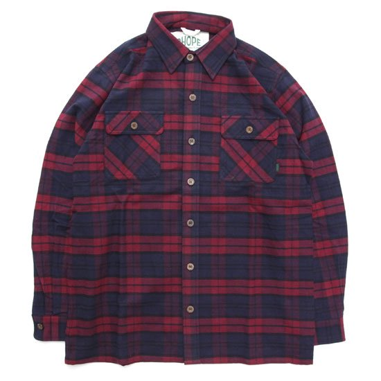 A HOPE HEMP アホープヘンプ Hemp Flannel Check Shirts (レッド)(ヘンプコットン シャツ)