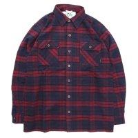 A HOPE HEMP アホープヘンプ|Hemp Flannel Check Shirts (レッド)(ヘンプコットン シャツ)