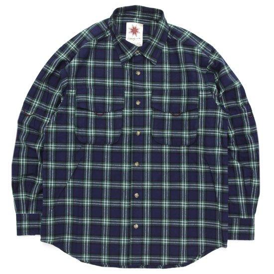 Nasngwam ナスングワム|WEED SHIRTS (ネイビー)(ネルシャツ)