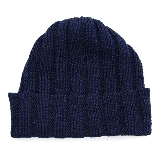 RoToTo ロトト INDIGO & LINEN KNIT CAP (ネイビー)(ニット帽 コットンニット)