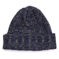 RoToTo ロトト|INDIGO & LINEN KNIT CAP (ベージュ)(ニット帽 コットンニット)