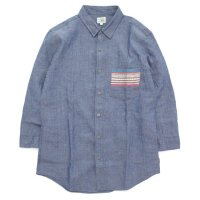 GO HEMP ゴーヘンプ|CHAMBRAY JACQUARD 3/4 SLEEVE SHIRTS (ブルー)(七分袖シャツ)