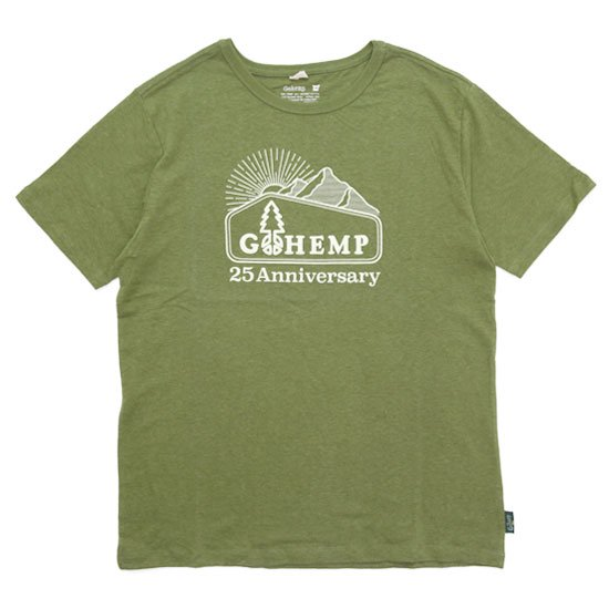 GO HEMP ゴーヘンプ|25th LOGO Mt. PRINT TEE (ライムグリーン)(プリントTEE)