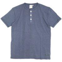 A HOPE HEMP アホープヘンプ|Henley Neck S/S Tee (ミッドナイトブルー)(Tシャツ ヘンリーネック)