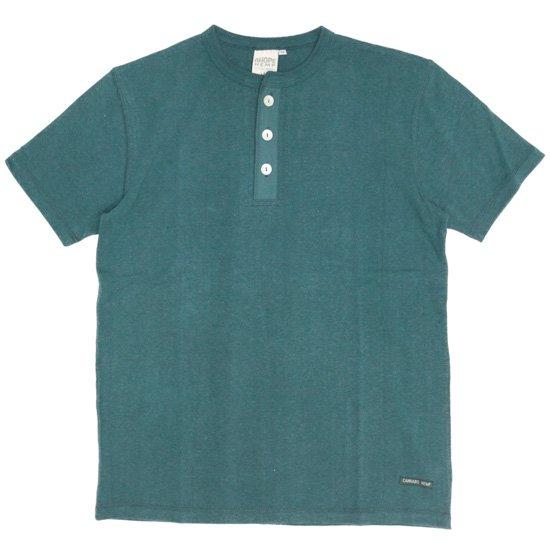 A HOPE HEMP アホープヘンプ Henley Neck S/S Tee (レインフォレスト)(Tシャツ ヘンリーネック)