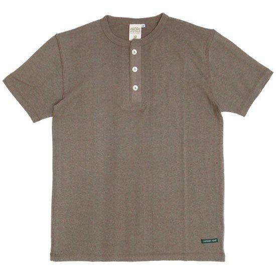 A HOPE HEMP アホープヘンプ Henley Neck S/S Tee (スクートブラウン)(Tシャツ ヘンリーネック)