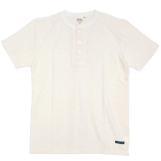 A HOPE HEMP アホープヘンプ Henley Neck S/S Tee (ナチュラル)(Tシャツ ヘンリーネック)