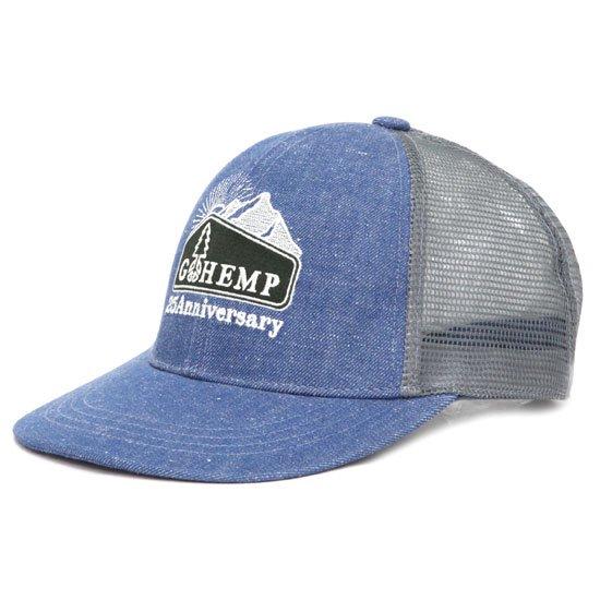 GO HEMP ゴーヘンプ|ANNIVERSARY LOGO MESH CAP (ブルー)(メッシュキャップ)
