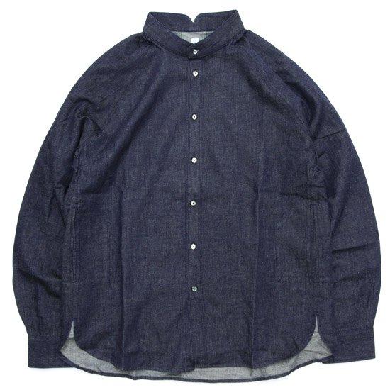 HiHiHi ひひひ|ゴデシャツ (リネンデニム)(スタンドカラーシャツ)