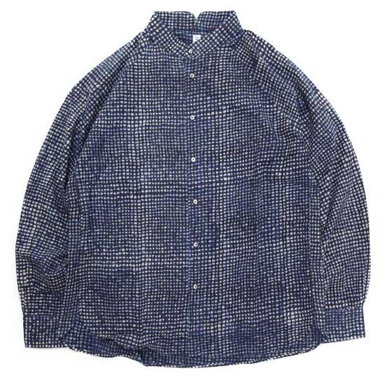 HiHiHi ひひひ|ゴデシャツ (インディゴ格子)(スタンドカラーシャツ)
