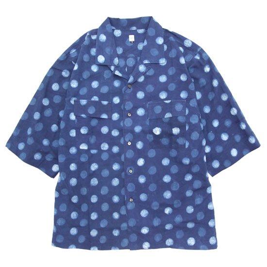 HiHiHi ひひひ|五分袖 カイキンシャツ (インディゴドット)(開襟シャツ)