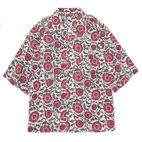HiHiHi ひひひ 五分袖 カイキンシャツ (赤い花)(開襟シャツ)