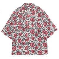 HiHiHi ひひひ|五分袖 カイキンシャツ (赤い花)(開襟シャツ)