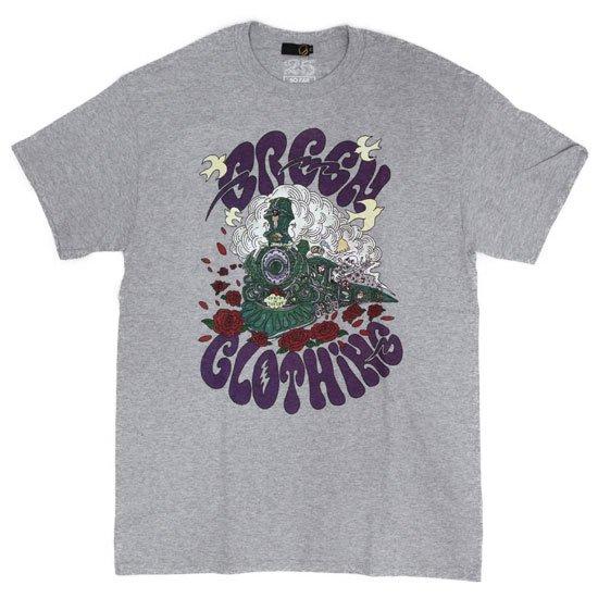 GREEN CLOTHING グリーンクロージング #2 Green Clothing Train TEE (ヘザーグレイ)(プリントTシャツ)