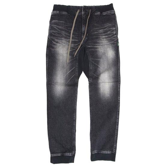 GO HEMP ゴーヘンプ|SLIM RIB PANTS BLACK DENIM (ユーズドウォッシュ)(ブラックデニム スリムリブパンツ)
