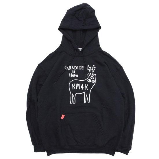 KM4K カモシカ OG HOOD LOGO PARKA (ブラック)(ロゴ パーカー)