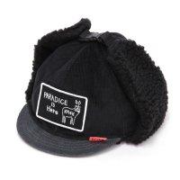 KM4K カモシカ|CAP 6 (ブラックグレイ)(耳あて付きキャップ)