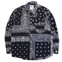 Nasngwam ナスングワム|SKELTER SHIRTS BANDANA (ブラック M)(リメイク 長袖シャツ)