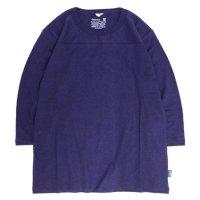 GO HEMP ゴーヘンプ|FOOTBALL TEE (ブルーベリーブルー)(フットボール 七分袖 TEE)