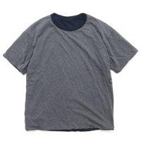 remilla レミーラ|リバースモック TEE (チャコール杢×ネイビー)(リバーシブルTシャツ)