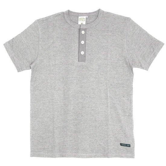 A HOPE HEMP アホープヘンプ Henley Neck S/S Tee (アッシュドグレイ)(Tシャツ ヘンリーネック)