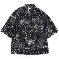HiHiHi ひひひ|五分袖 カイキンシャツ (黒ドット)(開襟シャツ)