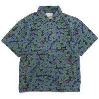 GO HEMP ゴーヘンプ|LOTUS PRINT HEMP JAM SHIRTS (ブルー)(半袖シャツ)