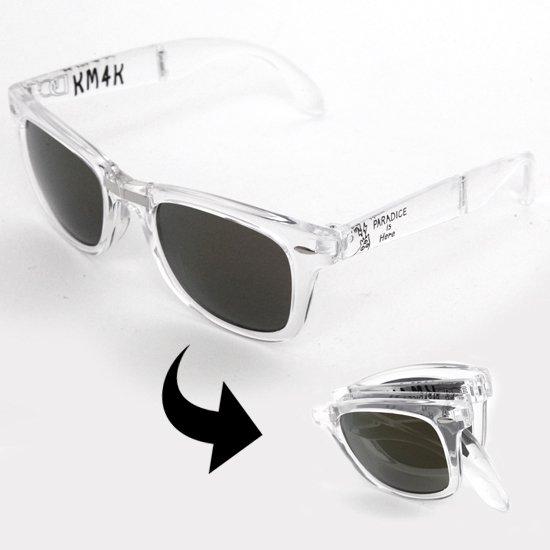 KM4K カモシカ PARADICE GLASS (クリア)偏光スモークレンズ(折りたためるサングラス)