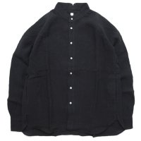 HiHiHi ひひひ|ゴデシャツ (クロ リネン)(スタンドカラーシャツ)