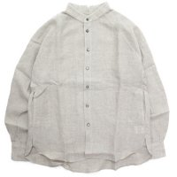 HiHiHi ひひひ|ゴデシャツ (ナチュラル リネン)(スタンドカラーシャツ)