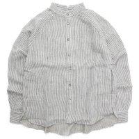 HiHiHi ひひひ|ゴデシャツ (リネン ストライプ)(スタンドカラーシャツ)